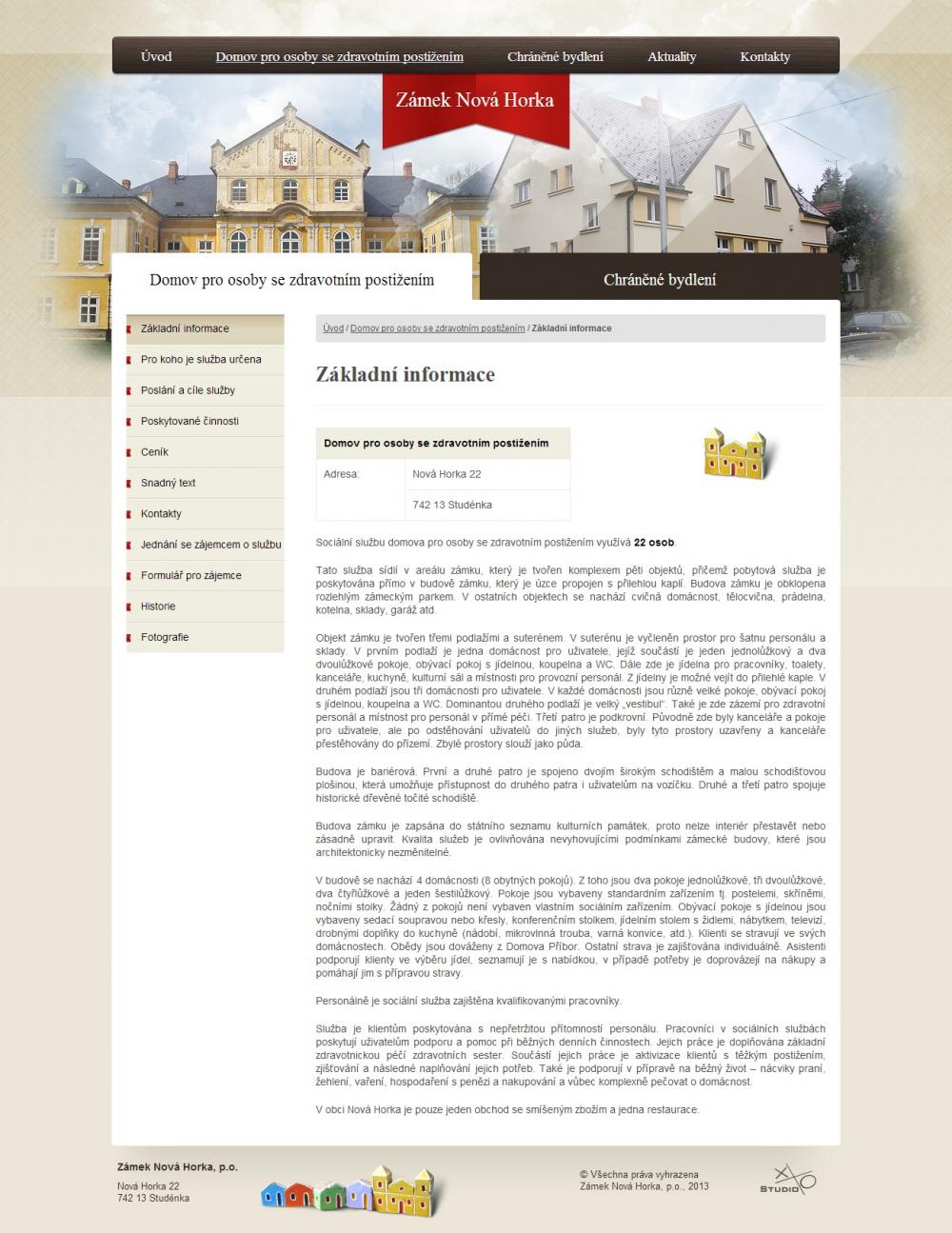 Zámek Nová Horka - Základní informace