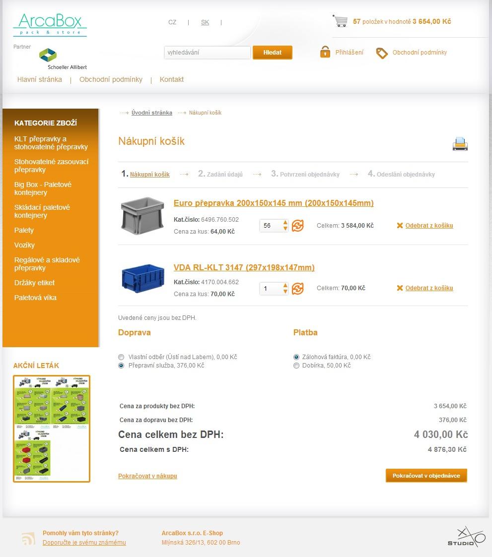 Arcabox E-Shop - Nákupní košík